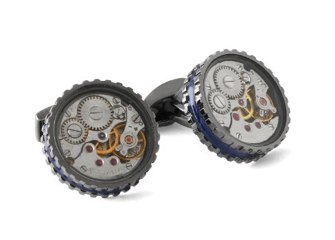 Round Skeleton Gear Cufflinks w Enamel Edge - Gunmetal & Blue
