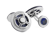 Precious UFO Silver Cufflinks - Lapis & Blue Enamel