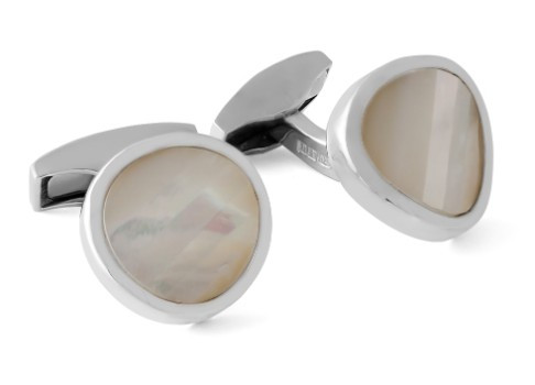 Gem Twist Round Silver Cufflinks w White MOP
