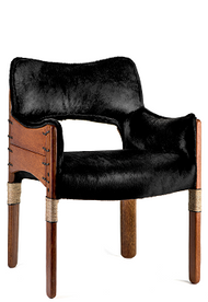 Tuvalu Dining Chair - Black Hide - Front View