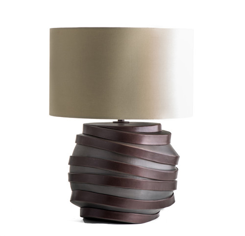 Earthenware Table Lamp w. Lamb Leather Strips and Cotton