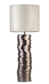 Earthenware disks lamp with bronze lamb leather and cotton shade