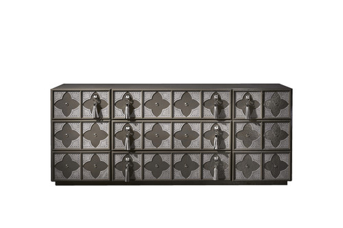 Valentina sideboards; with 3 drawers - Ebony on wood