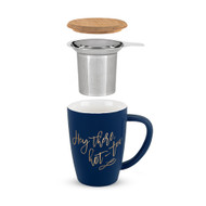 Bailey Hey There, Hot-Tea Ceramic Tea Mug & Infuser Pieces