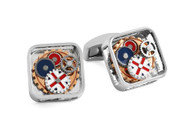 Britannia Gear Square Rhodium Cufflinks