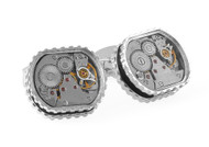 Skeleton Gear Tonneau Cufflinks - Rhodium, Black