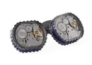 Skeleton Gear Tonneau Cufflinks - Gunmetal, Blue