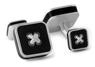 Black Square Button Cufflinks - Rhodium