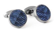 Leather Titanium Cufflinks - Metallic Blue