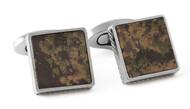 Square Leather Titanium Cufflinks - Camouflage
