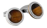 Brown Tiger Eye & Rock Crystal Cufflinks