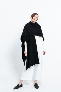 Black Wool Cashmere Solid