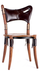 Cook island chair, chair height, brompton, royal oak, leather - Front View