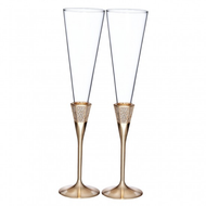 Lismore Diamond Gold Toasting Flutes - Set of 2
