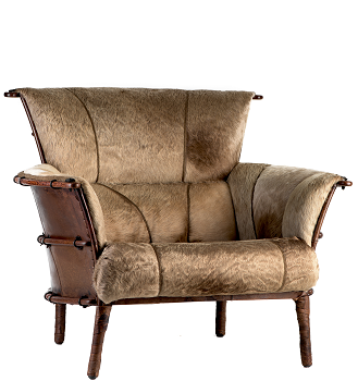 Navajo arm chair, special saddlemans hide - Front View