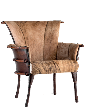 Phoenix dining chair, light Brindle hide - Front View