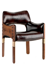 Tuvalu dining chair, brompton, royal oak leather - Front View