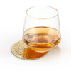 Belmont-Hammered Brass Coaster with Glass