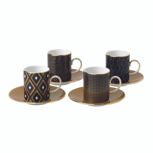 Arris Accent Espresso Cup & Saucer: Set of 4