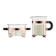sugar and creamer set, copper