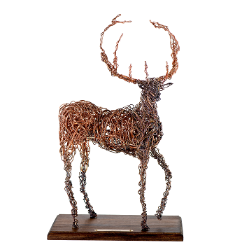 Copper Sculpture - Stag - Front View