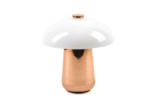 Ongo Lamp - Rosegold Base, White Glass