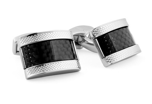 D-Shape Carbon Black Cufflinks