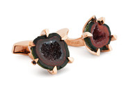 Geode Red & Rose Gold Plated Cufflinks