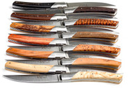 Set of 12 steak knives Le Thiers Pirou range, hand guilloch, different wood handles