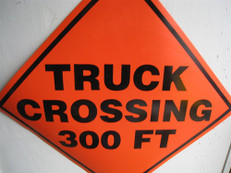 Truck Crossing 300 Feet Orange Sign, 2424-TC