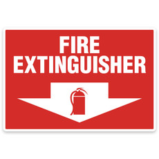 "Aluminum Fire Extinguisher Sign 4"" x 18"", 0625"