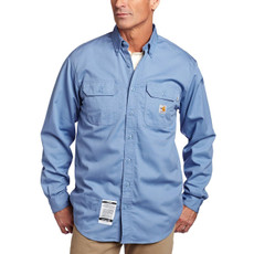 Carhartt Flame Resistant Twill Shirt with Pocket Flaps, FRS160 Medium Blue