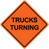 """48"""" x 48"""" Mesh Safety Signs Trucks Turning Sign"""
