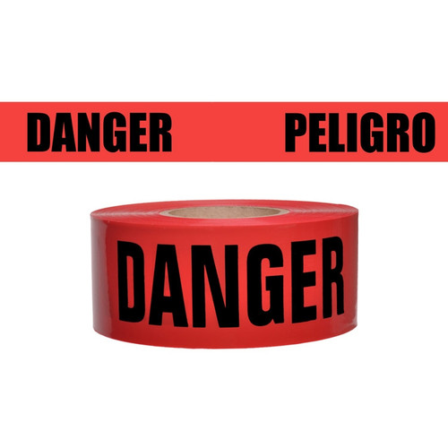 Presco Red Danger Peligro Barricade Tape - B357R174