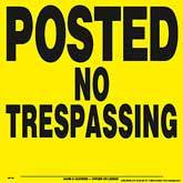 Posted No Trespassing Posted Signs - Yellow Plastic (104PNTYP)