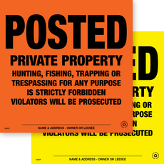 Posted Private Property - Orange & Yellow Aluminum