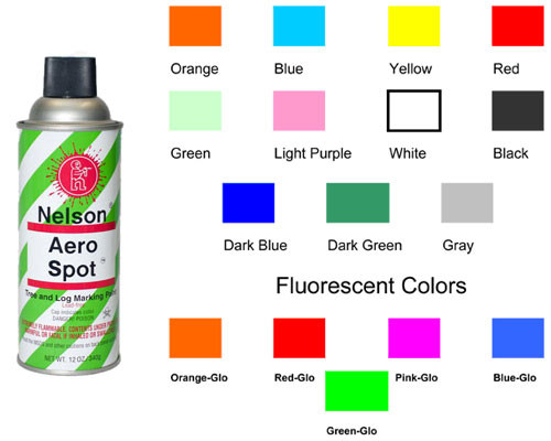 Nelson Aero Spot Fluorescent Aerosol Tree & Log Marking Paint - COLORS