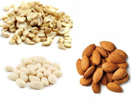 Jalpur Millers Nuts Combo Pack - White Blanced Peanuts 1kg - Split Cashhew Nut 1kg - Almonds 1kg (3 Pack)