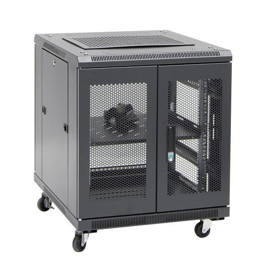 12RU network server rack cabinet 700mm deep - rear angle