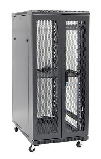 27RU network server rack cabinet 1000mm deep - rear angled