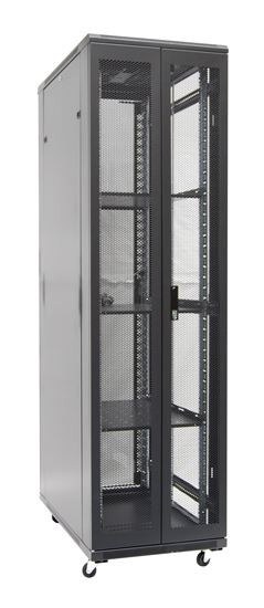 45RU network server rack cabinet 1000mm deep - rear angled