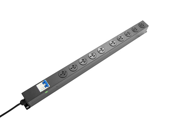 10 Outlet Vertical Power Rail (10A) with 6kA C Curve Circuit Breaker