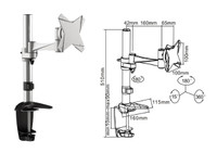 Tilt/Swivel LCD Desk Mount 360 deg rotation. Arm reach: 266mm