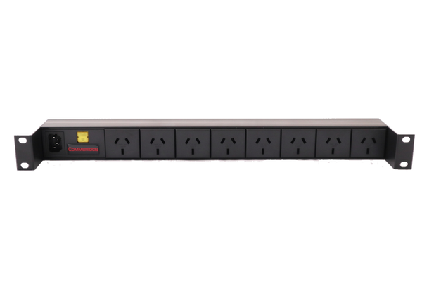 Commbridge 8 Australian GPO Outlets, 1RU Horizontal Power Rail with 10A thermal CB illuminated.
