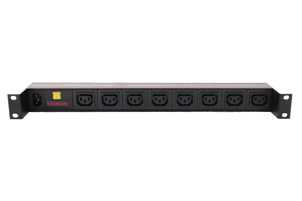 Commbridge 8 C13 Outlets, 1RU Horizontal Power Rail with 10A thermal CB illuminated.