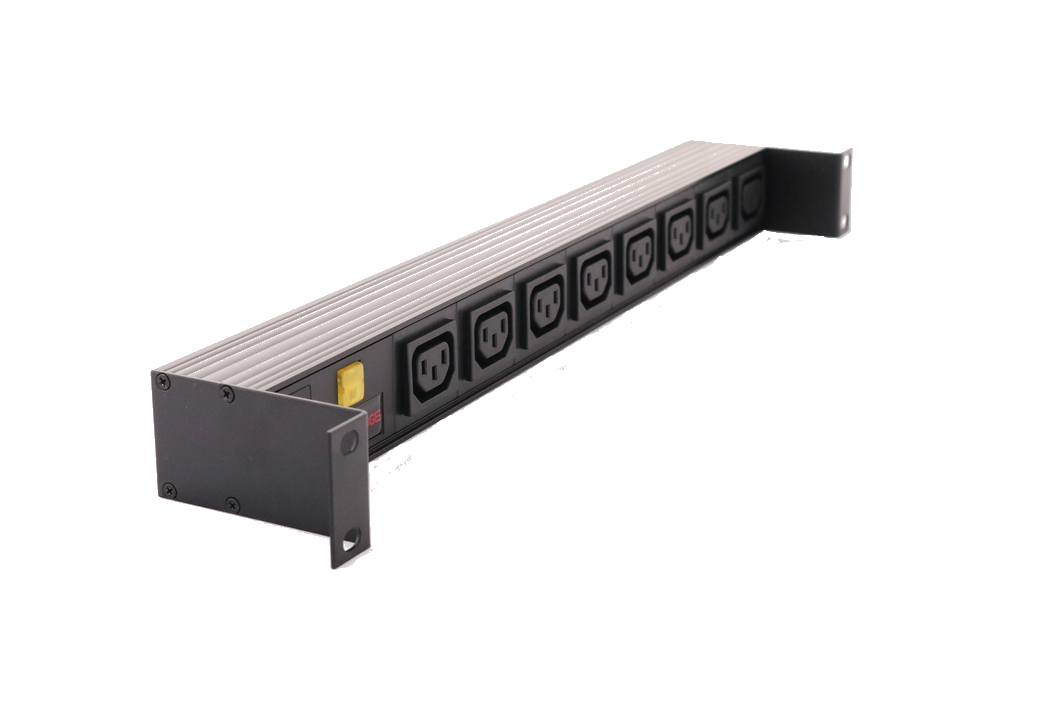 Commbridge 8 C13 Outlet, 1RU Horizontal Power Rail with 10A thermal CB illuminated.