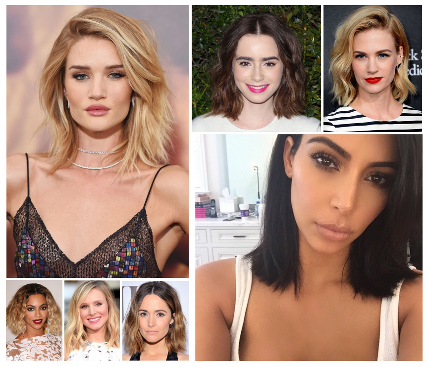 Long Bob Hairstyle- Rosie Huntington-Whitely, Kim Kardashian, Beyonce
