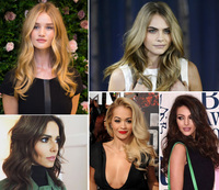 Rosie Huntington-Whitely, Cara Delevingne, Cheryl Fernandez-Versini, Rita Ora, hairstyles