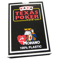 Modiano Italian Poker Game Plastic Playing Cards, Black Box Texas Poker Blue Deck, Made in Italy