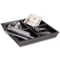 Jeffrey 4 Compartment Valet Tray and Leatherette Organizer Box for Wallets, Coins, Keys, and Jewelry